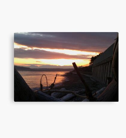 Alki Beach Sun Set Canvas Print