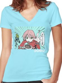 Vespa Woman Women's Fitted V-Neck T-Shirt