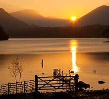 The Autumn Sun Sets on Derwent Lake, Keswick, Cumbria by Jan Fialkowski