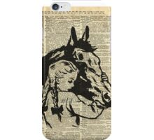 Girl With Horse Illustration over vintage dictionary page iPhone Case/Skin