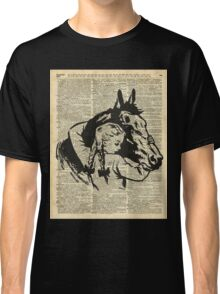 Girl With Horse Illustration over vintage dictionary page Classic T-Shirt
