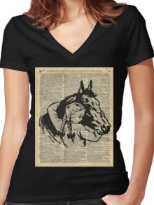 Girl With Horse Illustration over vintage dictionary page Women's Fitted V-Neck T-Shirt