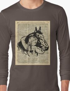 Girl With Horse Illustration over vintage dictionary page Long Sleeve T-Shirt