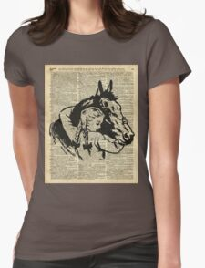 Girl With Horse Illustration over vintage dictionary page Womens Fitted T-Shirt