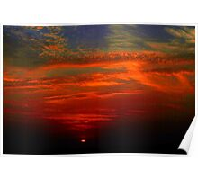 Dramatic red sunset Poster