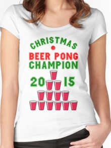 CHRISTMAS BEER PONG CHAMPION Women's Fitted Scoop T-Shirt