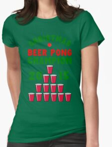 CHRISTMAS BEER PONG CHAMPION Womens Fitted T-Shirt