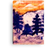 Orange sunset over the Pines, watercolor Canvas Print