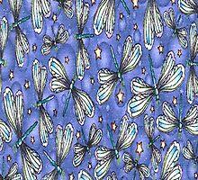 Glitter Dragonflies Blue iPhone Case by purplesensation