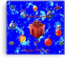 Christmas and New Year Card in Blue Canvas Print