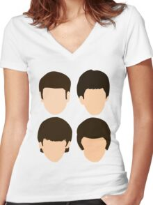 The Beatles - Minimalistic Women's Fitted V-Neck T-Shirt