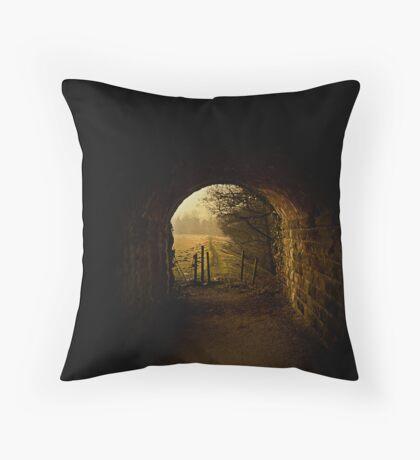 Through the Railway Bridge Throw Pillow