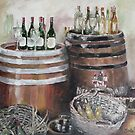 Barrels, Baskets and Bottles - Oil on Canvas by Marie Theron