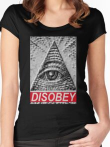 Illuminati Eye Mason Pyramid DISOBEY Women's Fitted Scoop T-Shirt