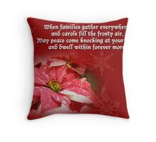 Christmas Card - Red and White Poinsettia Throw Pillow