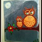 MOTHER & BABY OWL - Night by NikiJ