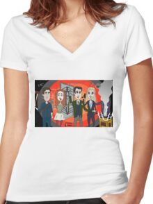 The Librarians as Live Looney Tunes from Raiders of the Lost Ark in the Twilight Zone Women's Fitted V-Neck T-Shirt