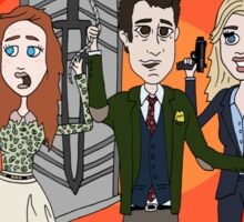 The Librarians as Live Looney Tunes from Raiders of the Lost Ark in the Twilight Zone Sticker