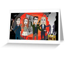 The Librarians as Live Looney Tunes from Raiders of the Lost Ark in the Twilight Zone Greeting Card