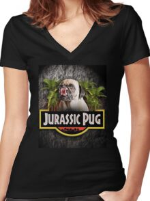 New Jurassic Pug Funny Parody Urban Swag Women's Fitted V-Neck T-Shirt
