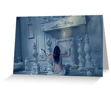 """She Waits at the Temple Door by Moonlight."" Greeting Card"