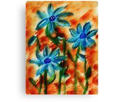 Blue flowers, watercolor Canvas Print