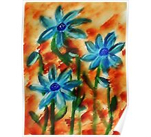 Blue flowers, watercolor Poster