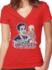 Zombie Romney For President Women's Fitted V-Neck T-Shirt