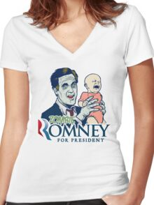 Zombie Romney For President Women's Fitted V-Neck T-Shirt