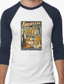 Thurston the great magician 1914 Vintage Poster Men's Baseball ¾ T-Shirt
