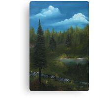 Pine trees oil painting landscape Canvas Print