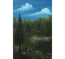 Pine trees oil painting landscape Photographic Print