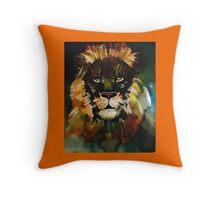 Orange lion Throw Pillow