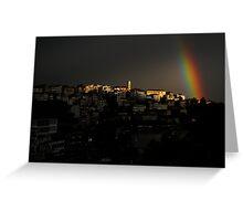 Rainbow over Kastoria City Greeting Card