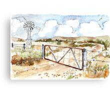 A windpomp and a gate Canvas Print