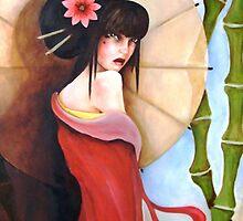 Geisha with umbrella by matthew  chapman