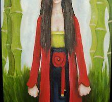 geisha with bamboo by matthew  chapman
