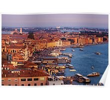 Venice sunset harbor Poster