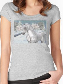 Winter Snow .. the tale of a wild horse Women's Fitted Scoop T-Shirt