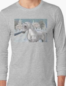 Winter Snow .. the tale of a wild horse Long Sleeve T-Shirt