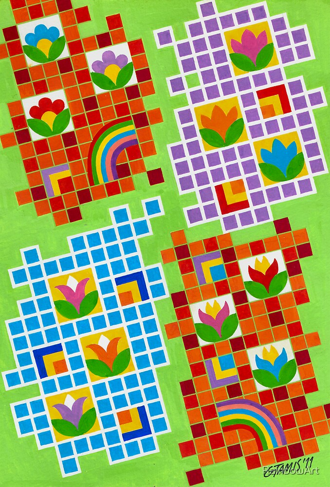 Colors And Squares With Flowers - Brush And Gouache by RainbowArt