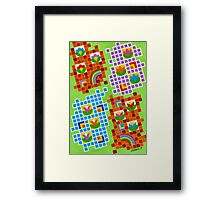 Colors And Squares With Flowers - Brush And Gouache Framed Print