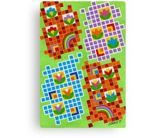 Colors And Squares With Flowers - Brush And Gouache Canvas Print