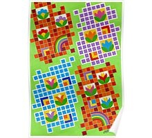 Colors And Squares With Flowers - Brush And Gouache Poster