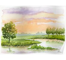 A Pink Sky, Trees, And Water Early in The Evening - Aquarel Poster