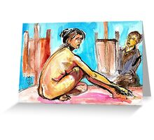 The Model and the painter Greeting Card