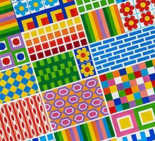 Colors With Squares And Dessins - Brush And Gouache by RainbowArt