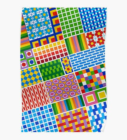 Colors With Squares And Dessins - Brush And Gouache Poster