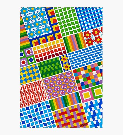 Colors With Squares And Dessins - Brush And Gouache Photographic Print