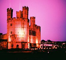 Caernarfon Castle at Night by Martin Sutton